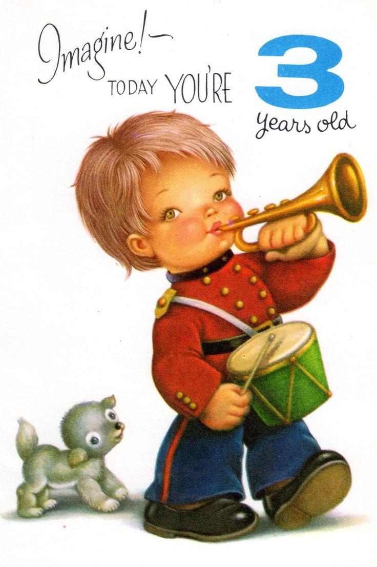 Vintage Birthday Card Chubby Cheek Boy For Three/ 3 Year