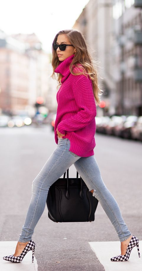 Cerise  Kenzas by Kenzas That fuchsia sweater and them heels…killer! Even with