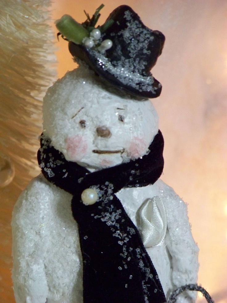 Paper Mache Winter Holiday Snowman Folk Art Mha