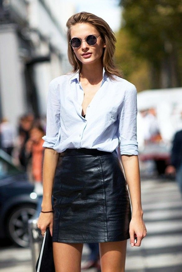 a classic button-down   high waist leather skirt