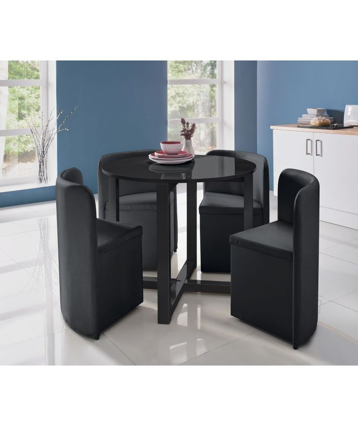 Buy Hygena Black Gloss Space Saver Table And 4 Chairs At Your Online Shop For