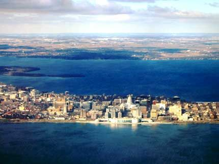 Madison Isthmus Lake Monona In Foreground Lake Mendota In Background The American States And