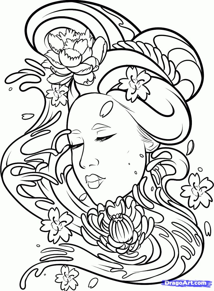 dragoart coloring pages how to draw a geisha tattoo step