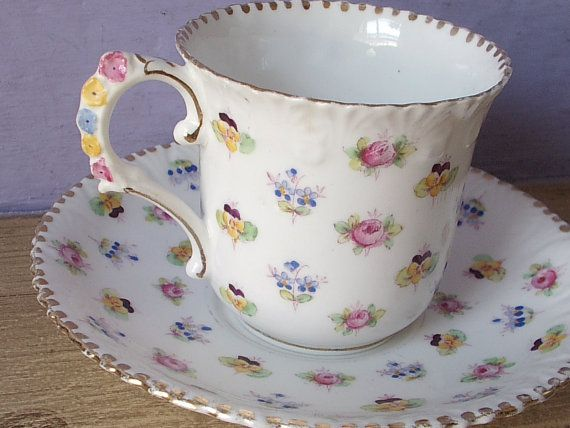 Antique 1940s Royal Stafford Flower Handle Tea By