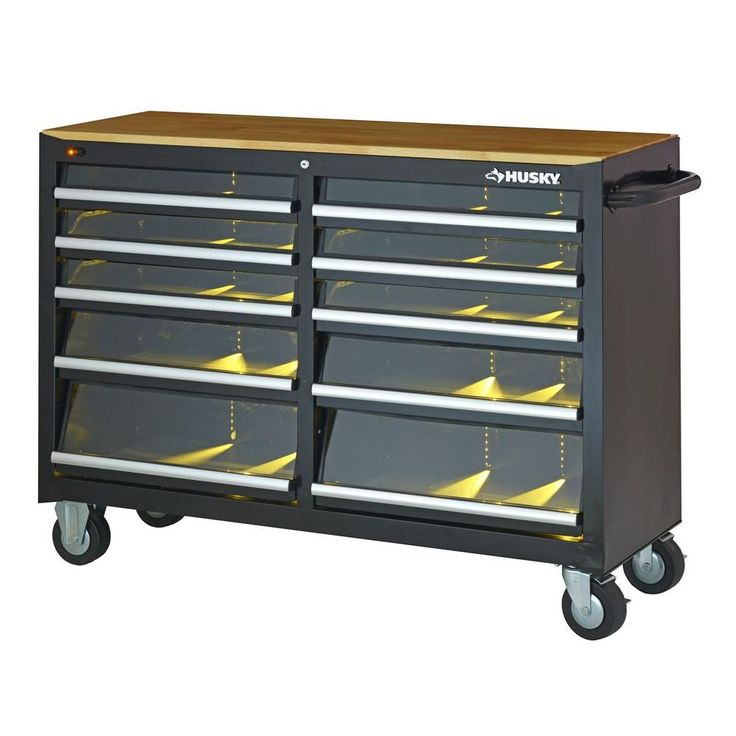 Husky 52 In 10 Drawer Clear View Mobile Workbench With