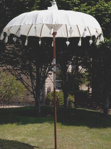 Handmade Bali White Cotton Wedding Umbrella 99 Party