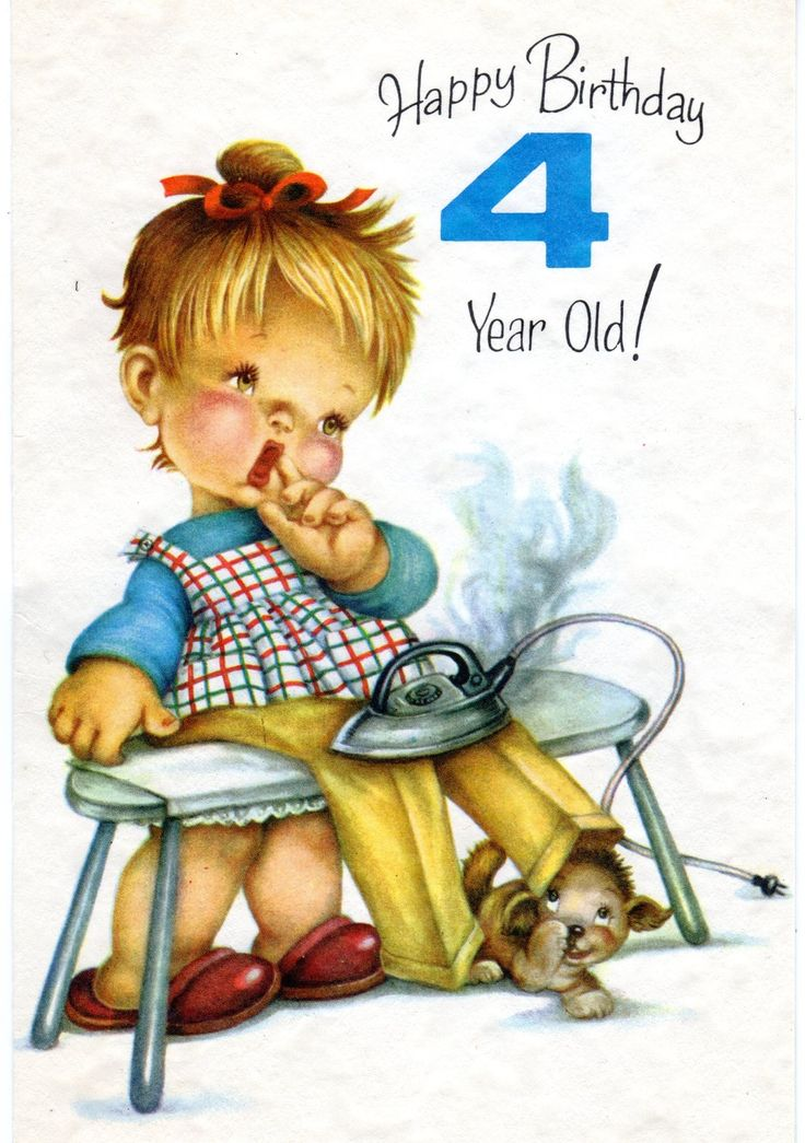 Vintage Birthday Greeting Card For Four/ 4 Year Old Child