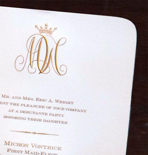 Scriptura Regal Monogram Debutante Party Invitation