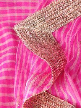 Pink Chiffon Khari Print Leheriya Lace Dupatta