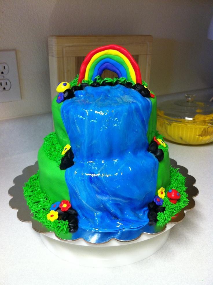 Rainbow Waterfall Cake Birthday Cakes Pinterest