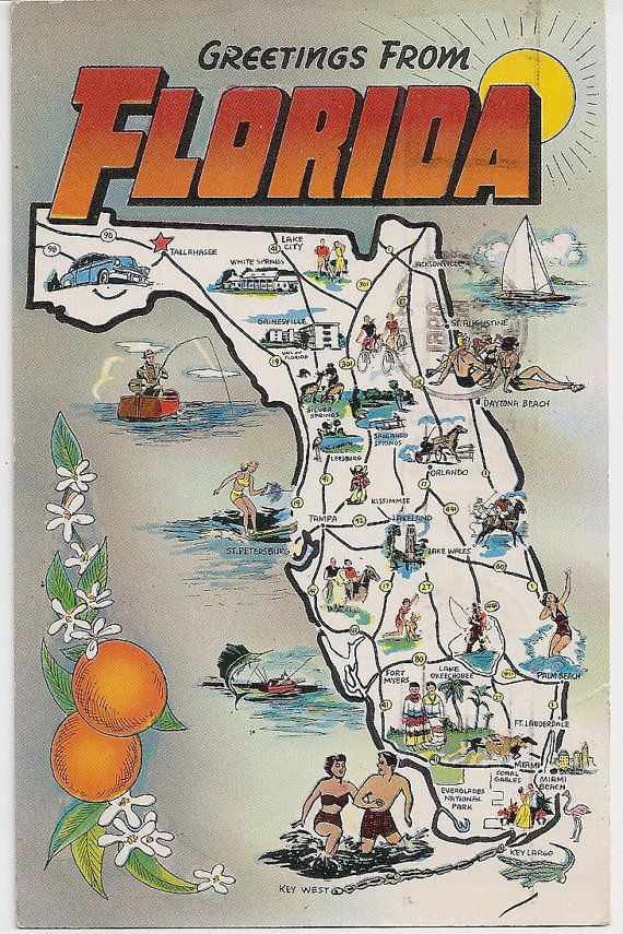 Florida Tourist Map Postcard Vintage Greetings from