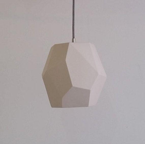 Bedside pendant - Geometric Pendant Light, Translucent Porcelain, Choose your cord and canopy color: