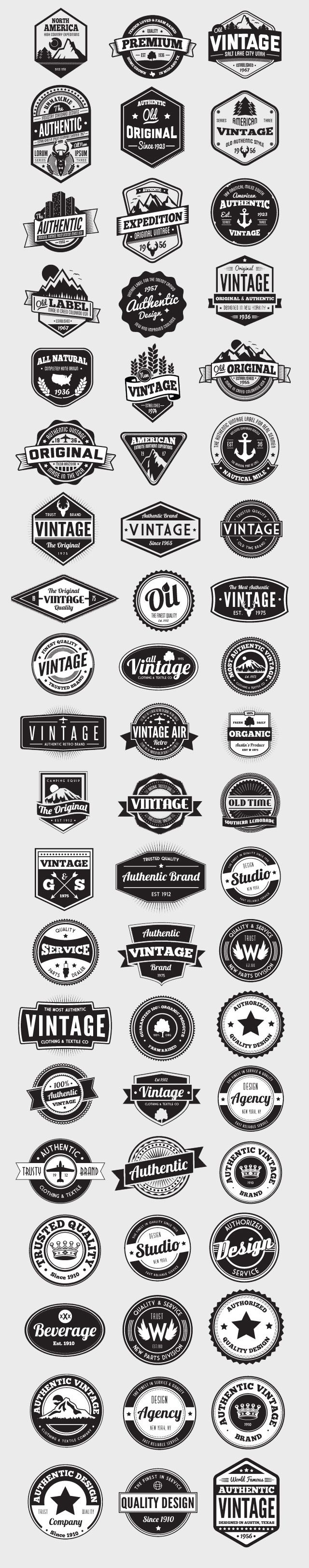 Having a good selection of vectors on hand is essential for any designer. This ultimate collection of 60 vector badges and logos