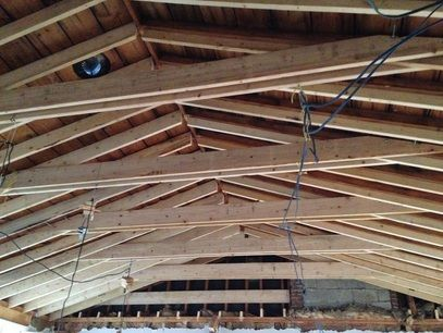 Vaulted Ceiling Construction With Collar Ties This Is Going To Be Beautiful Blog Photos