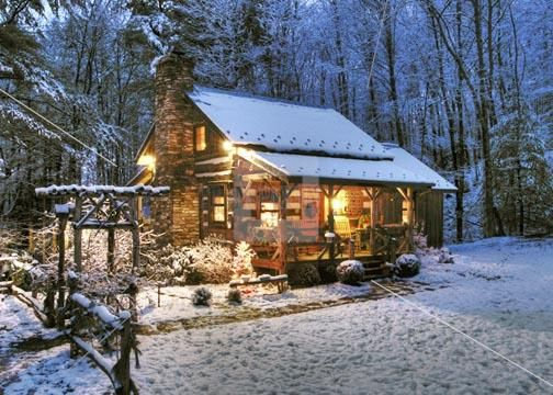 Old Mountain Log Cabins In Snow INC Stock Photos