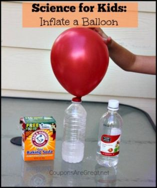 Inflate a balloon with a few simple household items and kids will be amazed with this simple science experiment for kids.: