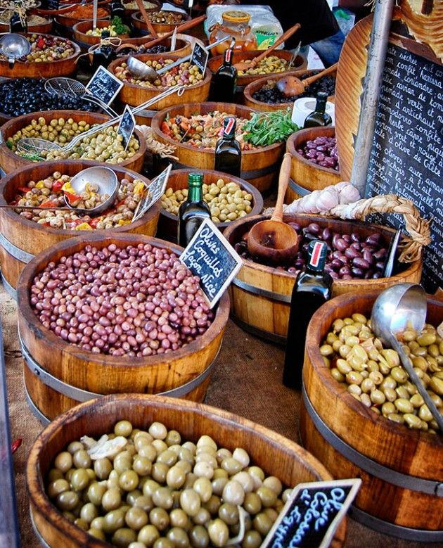 Olives at the Saturday market in Beaune, France