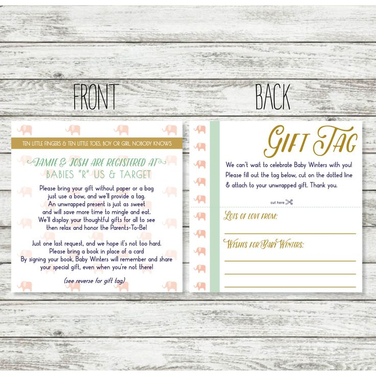 Baby Shower Registry Card Wording for Unwrapped Gift for