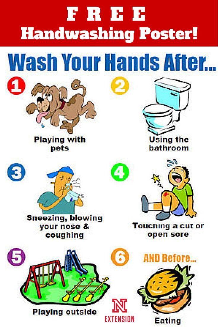 """Download a FREE 81/2 x 11"""" handwashing poster Food"""