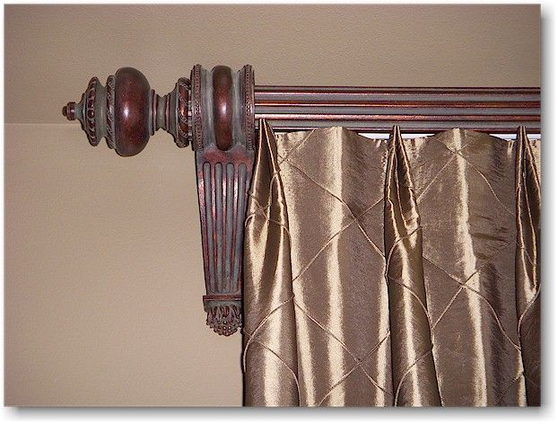 Double Tuck Top Pleated Drapery With Wood Poles Brackets And Finials From Paris Texas Drapery