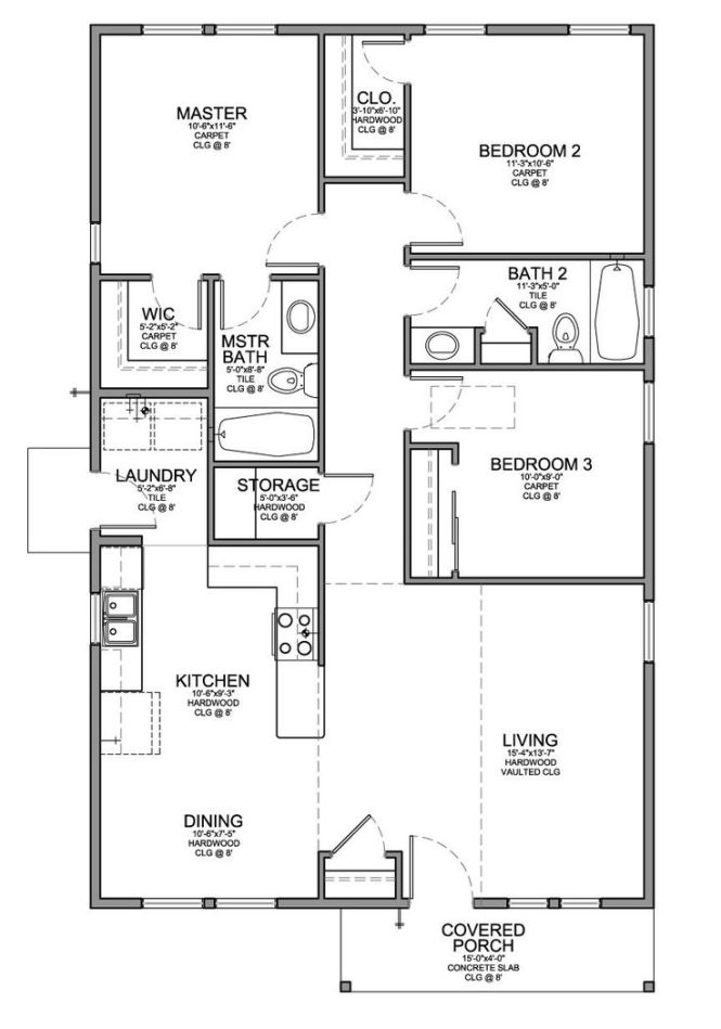 Floor Plan For A Small House 1 150 Sf With 3 Bedrooms And 2 Baths Christy Pinterest Walk In Houses