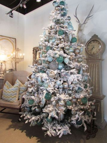 aqua and sliver on a white tree- add in some navy too: