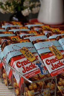 Cracker Jack favors idea – love the aged ticket!!!