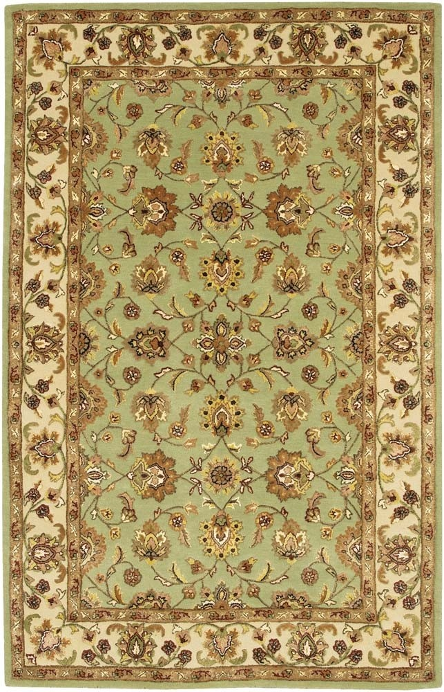 Mint Green Oriental Rug With Browntan Walls Goldcream Wall Papered Feature Wall Black Sofas