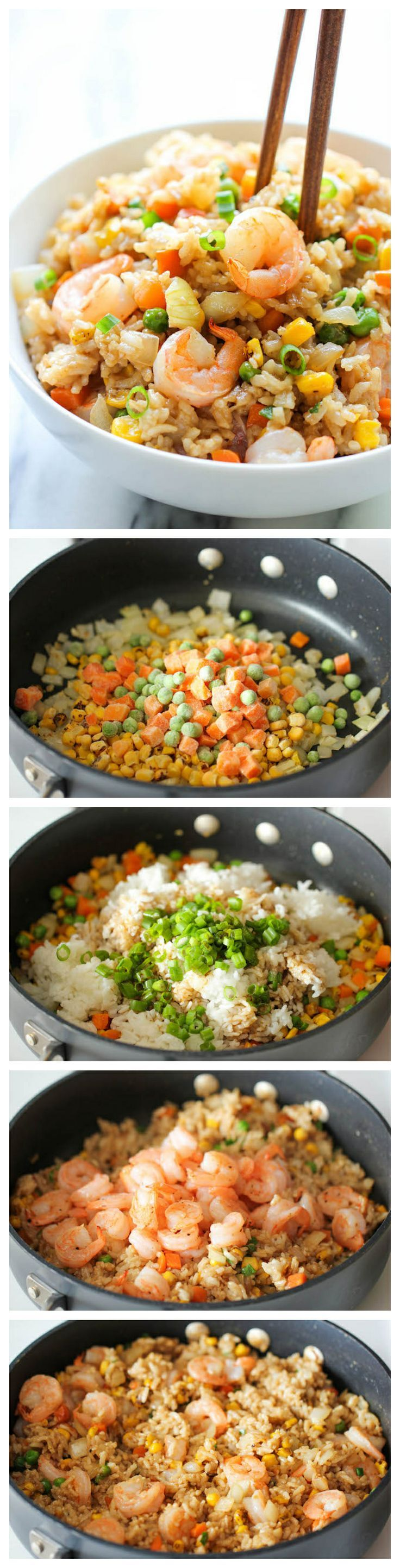 Shrimp Fried Rice – Why order take-out?   This homemade version is so much healthier, cheaper and tastes a million times