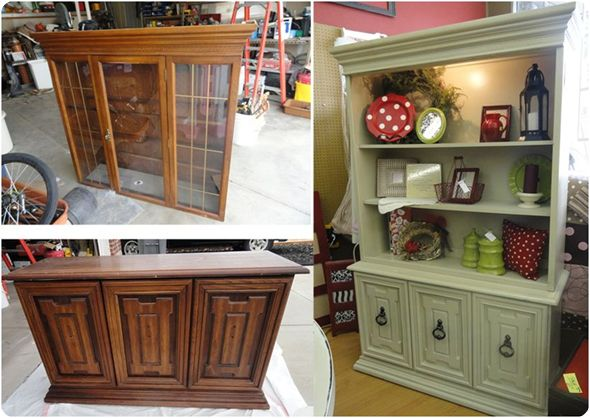 Redo on a Hutch.I think this would be great to take out that middle shelf and put a t.v in it.Storage above and below for all the