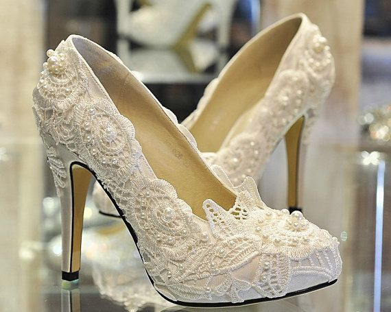 Luxury Heel White Red Lace With Pearls Luxury Pumps