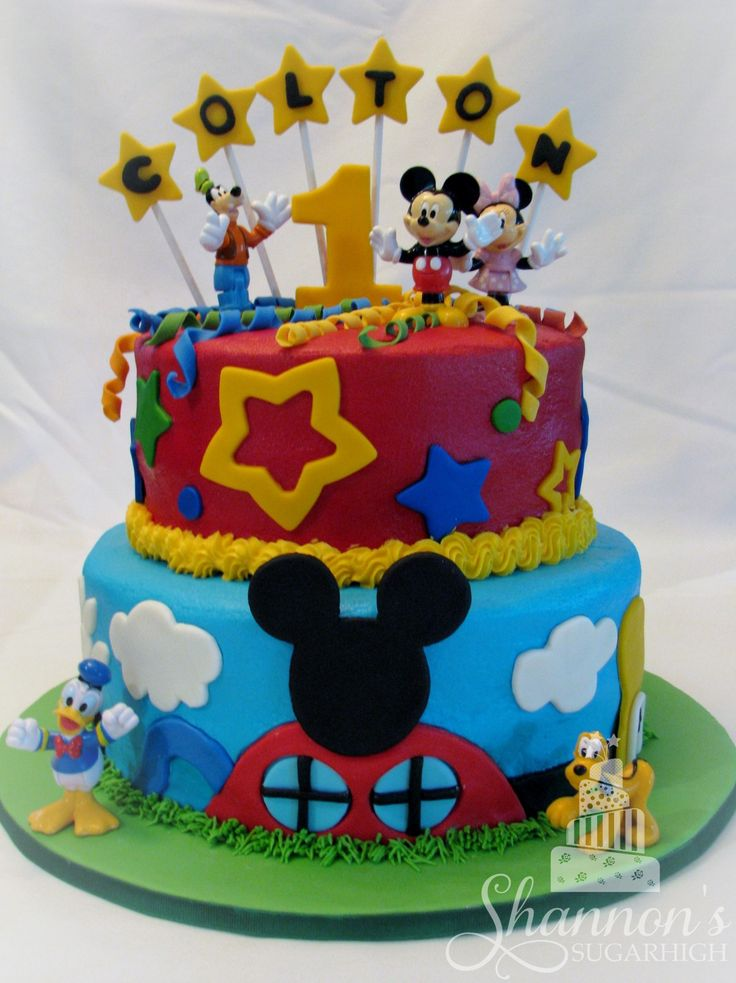 Mickey Mouse Clubhouse Cake 2 Tiered Cake That Is Iced In
