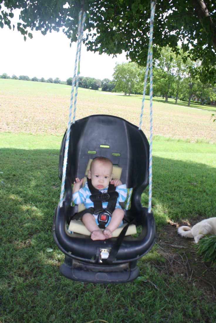 infant swing made out of an old carseat crafts