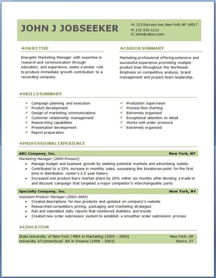 free professional resume templates download Good to know