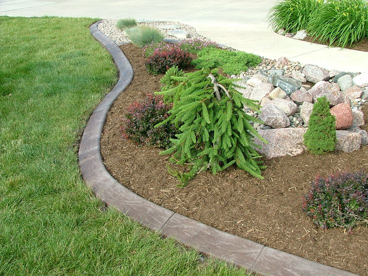 Poured concrete edging with a slope for easy mowing, plus