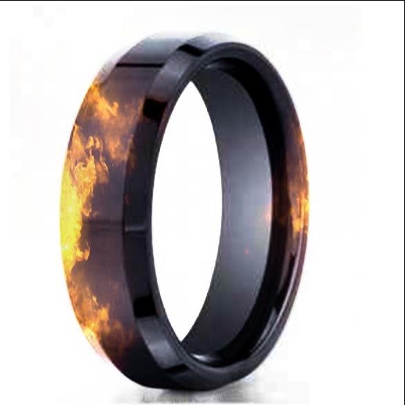 Black Gold Fire Effect Wedding Band Firefighter Stuff