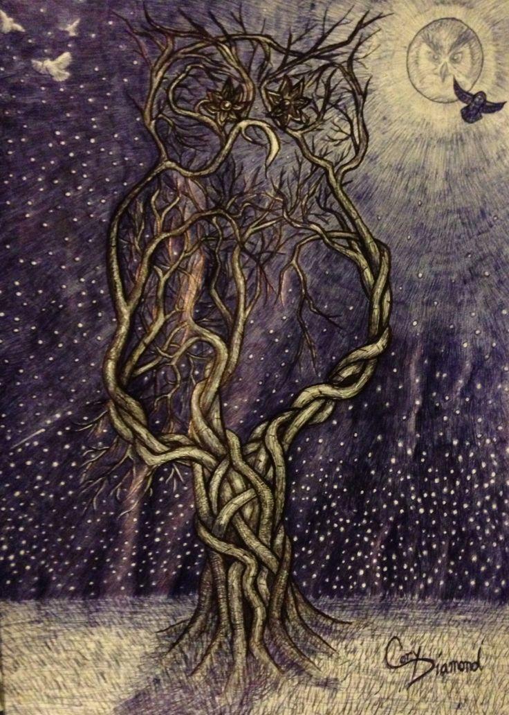 Owl tree 5. Tattoo design ink sketches Pinterest
