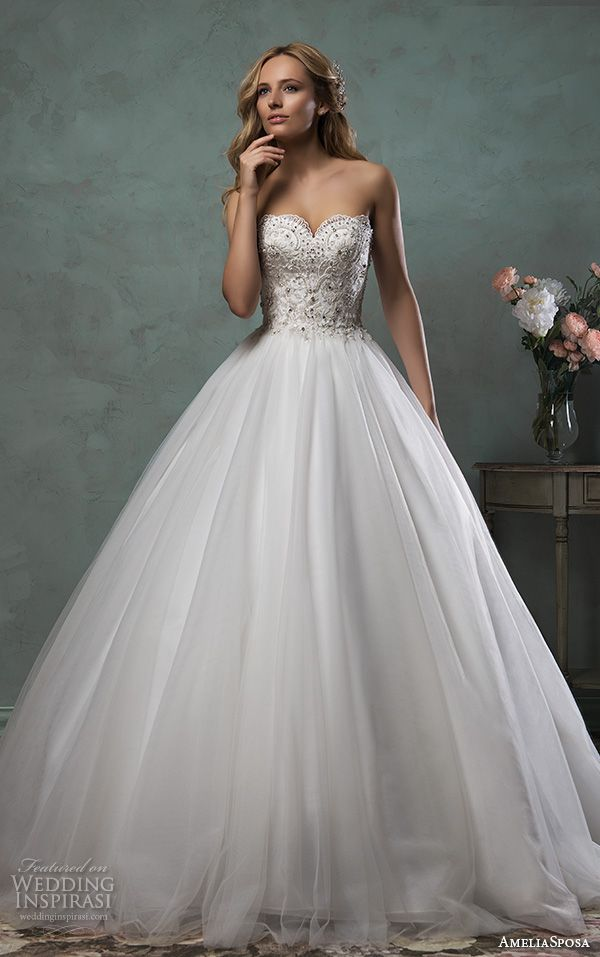 amelia sposa 2016 wedding dresses strapless scallop sweetheart neckline beaded bodice tulle beautiful ball gown dress giselle