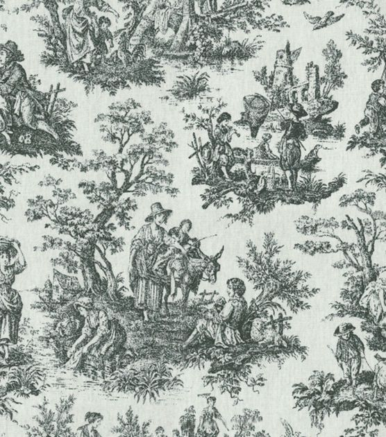 "Waverly Upholstery Fabric 54"" Rustic Toile Black Joann"