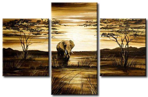 Hand Painted Wall Art African Grassland Big Elephant