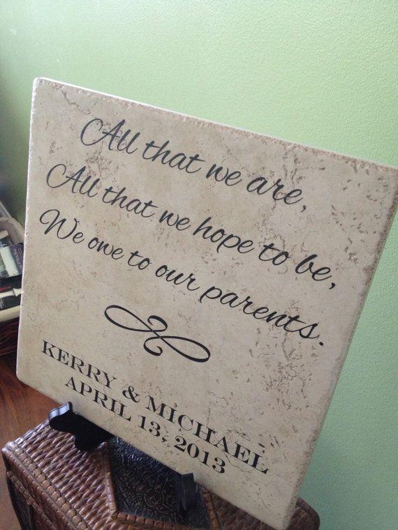 Large Laser Engraved Parents Wedding Ceramic Tile Gift