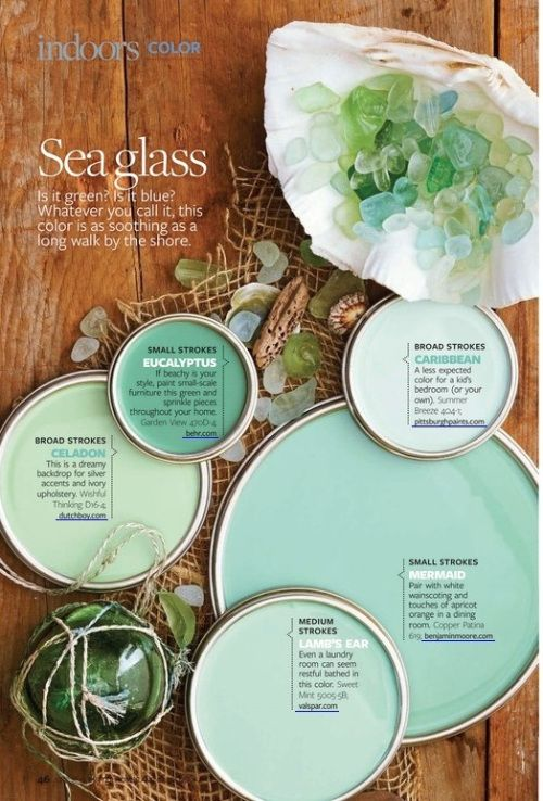Sea Glass Inspired Decor…Bringing the Beach Indoors June 3, 2013 Sara Silver . Home Design, Inspiration	. beach bungalow, Beach