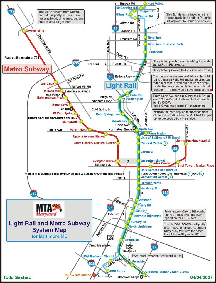 The Baltimore Metro Subway system, hereafter called the