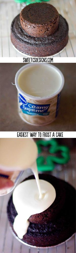 EASIEST way to FROST A CAKE EVER – this is awesome! get a faux fondant look with store bought icing.