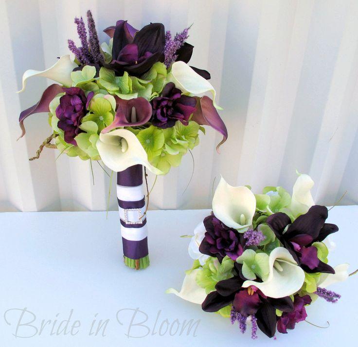plum wedding bouquets   Plum Wedding bouquet – 3 piece set – Real touch Wedding