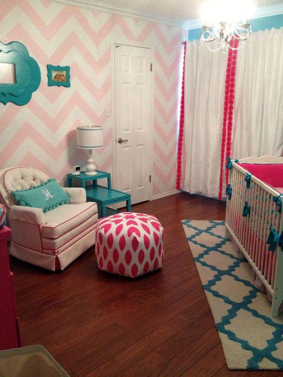 Nursery Decor Pouf Ottoman Candy Pink & White – Chipper Ikat Contemporary Modern
