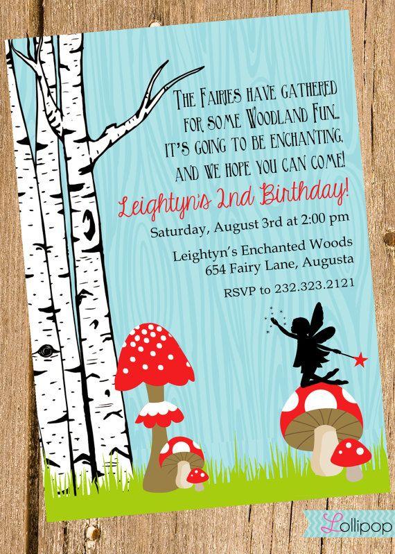 Woodland Fairy Printable Invitation, Personalized Woodland