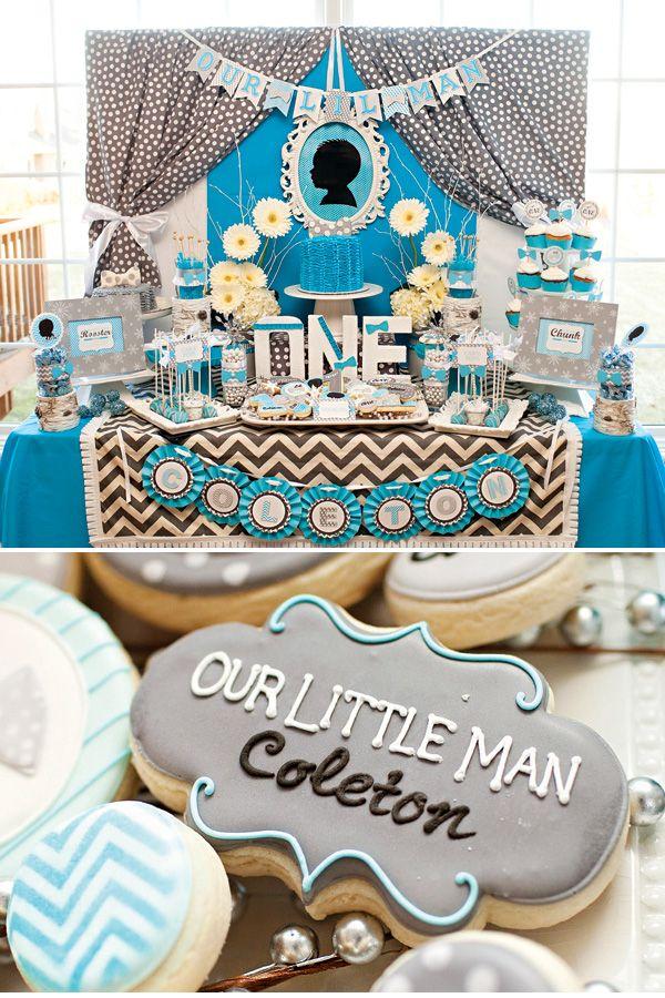 Decoración para 1er cumpleaños de un chico con estilo! Decoración de la mesa y detalles de bombonería y repostería