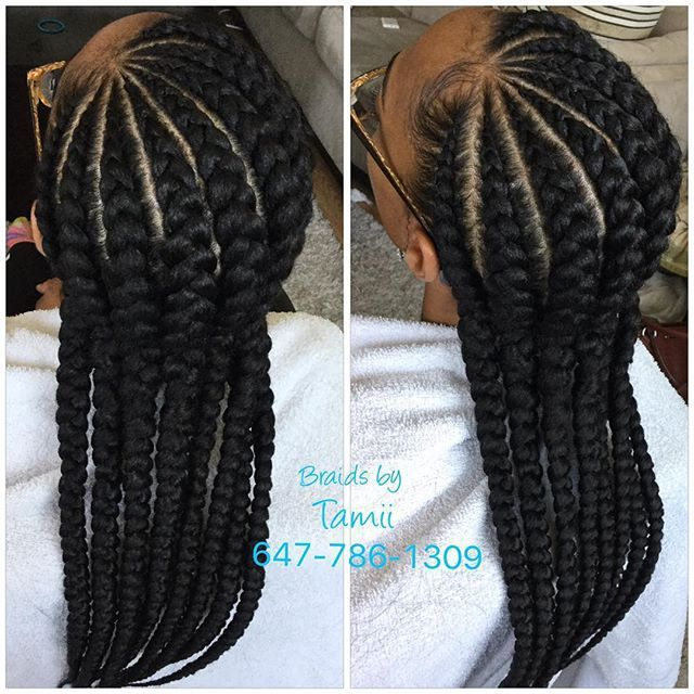 Large Cornrow Hairstyles Big Cornrow Braids In A Buns