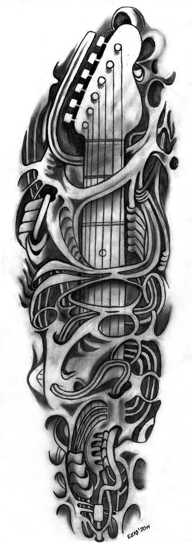 Skull Guitar Tattoo Outlines ! Skull Tattoos Pinterest